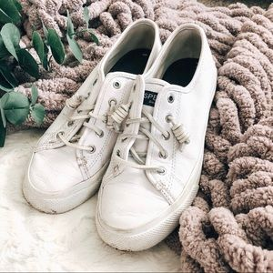 White Leather Sperry Slip On Shoes